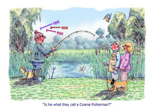 """Coarse Fisherman"" FISHING CARTOON A4 PRINT BY ARMAND FOSTER"