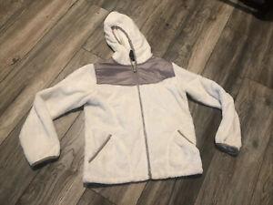 The North Face Plush Hooded White Fleece Jacket Girls Large Nice
