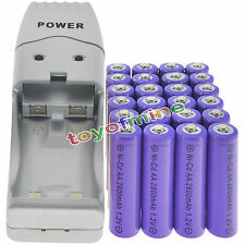 24 batterie AA ricaricabili Viola NiCd 2800mAh 1.2V Solar Light+Charger