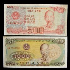 New listing 2 Vietnam banknotes-1 x 500 & 1000 Dong / 1988 uncirculated currency
