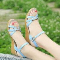 Fashion Summer Wedge Sandals Ankle Strap Buckle Open Toe casual Womens Sandals