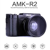 AMKOV AMK-R2 24MP 1080P HD Digitale SLR DSLR Kamera 4X Zoom Weitwinkelobjektiv