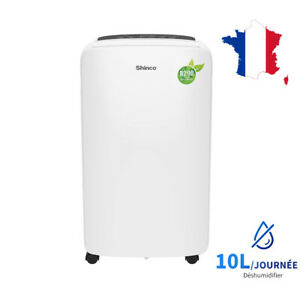 SHINCO déshumidificateur d'air, 10 L/24h, Portable,Silencieux, Drainage Continu