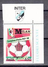 FRANCOBOLLO NUOVO  MILAN  CAMPIONE 1987 / 1988 RARA APPENDICE INTER  VEDI FOTO