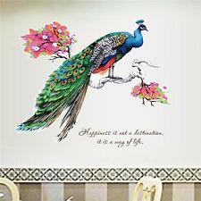 Wall Sticker Vinyl Fancy Peacock Living Room Decal Home Mural Art Decor 60x90cm