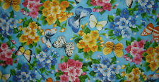 Butterflies and Flowers on Pale blue allover Quilting Cotton Fabric BTY