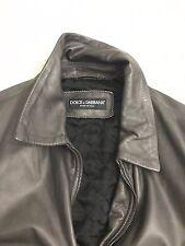 NWT $2625 DOLCE & GABBANA Gray Leather Jacket Biker Coat Fulzy EU48  / Small