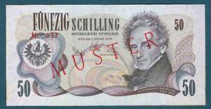 Austria Specimen 50 Schilling Pick 143s January 2, 1970