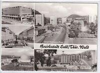 Ansichtskarte Suhl - C-Warenhaus/Steinweg/Volkssternwarte/Stadthalle/Platz - s/w