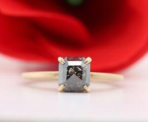 Salt and Pepper Emerald Cut Natural Diamond Engagement ring