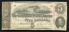 T-60 1863 $5 FIVE DOLLARS CSA CONFEDERATE STATES OF AMERICA