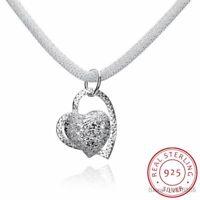 925 Sterling Silber Halskette Luxus Liebe Herz Anhänger edlen Schmuck Necklace.