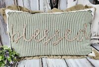 Blessed Ticking Strip & Jute Country Cottage Farmhouse Accent Pillow