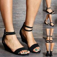 Sommer Damen Absatz Sandalen Schnallen Bügel beiläufige feste Farbe Schuhe GS