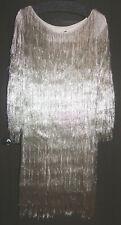 Rachel Zoe Metallic Platinum Fringe Dress Size S MSRP $695.00 NWT