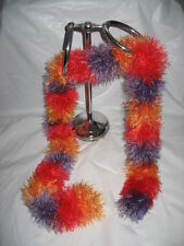 Handmade Knit Scarf - Red, Golden Yellow, Silver Violet