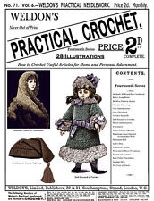 Weldon's 2D #71 c.1890 Vintage Crochet Patterns for a Shawl, Caps, Doll Fashions