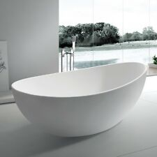 Free Standing Solid Surface Stone Resin Glossy Bathtub 70 x 35 inch - SW-131L