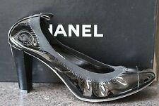 NIB CHANEL CLASSIC LOGO BLACK PATENT Cap Toe Stretch Ballet Pumps Shoes 38.5
