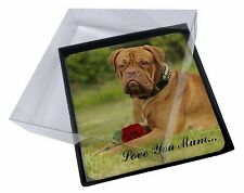 4x Dog+Red Rose 'Love You Mum' Picture Table Coasters Set in Gift B, AD-DB2RlymC