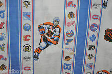 NHL HOCKEY vintage FLAT BED SHEET 1980s Nordiques, Whalers, North Stars