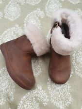 Girls Leather UGG zip boots - UK 6 Infant - Flurry tops. Tan brown