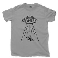 Alien Flying Saucer T Shirt Funny UFO Pizza Slice Abduction Extraterrestrial Tee