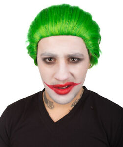 The Joker   Men's Green Color Slick Back Straight  Psychotic Joker Wig HM-1397