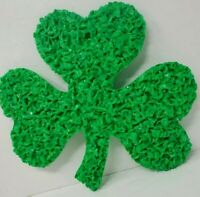 "Vintage Plastic Melted Popcorn 11"" Green Shamrocks Good Luck ST PATRICK'S DAY"