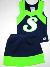 """New Child Cheerleader Uniform Outfit Costume Florescent Green Navy Blue S 26"""""""