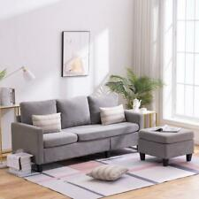 Mult-use Cotton and Linen Sectional Sofa L-Shaped Couch W/Reversible Chaise New