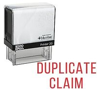 DUPLICATE CLAIM Office Self Inking Rubber Stamp - Red Ink (E-5275)