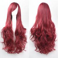 Womens Long Wavy Curly Fancy Dress Cosplay Hair Full Wigs Pop Party Costume 80CM