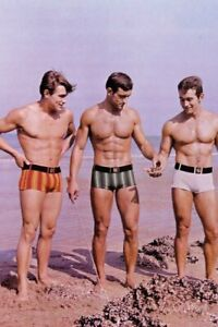 POSTCARD Print / Three beachboys in swimsuits, 1957 / Gay Interest
