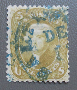 US 1861 5¢ Rare Olive Yellow Stamp #67b with Blue Town Cancel & Cert CV $4,750