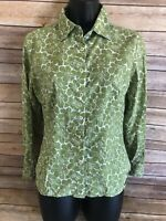 BODEN Long Sleeve Blouse Size 10 Womens Green Button Down Top Floral Blouse L/S