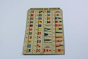 INTERNATIONAL CODE FLAGS CARDBOARD SIGN BROCHURE Turkey 1960s RARE Navy