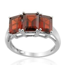 Natural Garnet Emerald cut three stone 0.925 sterling silver platinum ring