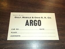 JUNE 1962 GM&O GULF MOBILE AND OHIO RAILROAD ARGO, ILLINOIS FREIGHT CAR TAG