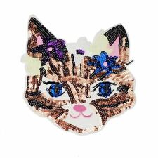 Sequin Cat Heads (Iron On) Embroidery Applique Patch Sew Iron Badge