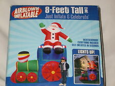 New-8' RARE Gemmy Lighted Colorful Christmas Santa Trian Airblown Inflatable