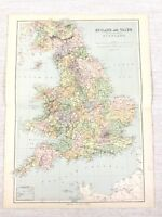 1889 Antique Map of England English County Borders Boundaries 19th Century
