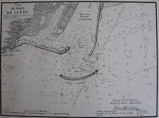 PLAN DU PORT DE CETTE ,1862, GAUTTIER, PLANS PORTS RADES MER MEDITERRANEE