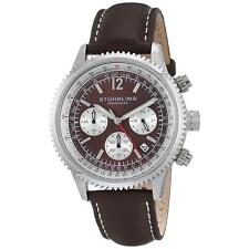 Stuhrling Monaco Men's 42mm Chronograph Brown Calfskin krysterna Watch 669.03