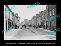 OLD LARGE HISTORIC PHOTO OF CARRICK-ON-SUIR IRELAND, CASTLE St & STORES c1900