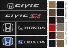 Black Lloyd Classic Loop Carpet Floor Mats for 2001-2019 Honda Civic SI /& Logo