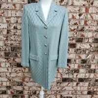 St. John Evening size 10 light blue knit jacket coat rhinestones paillette