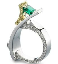 Newest Design 925 Silver White Sapphire & Emerald Ring Women Anniversary Jewelry