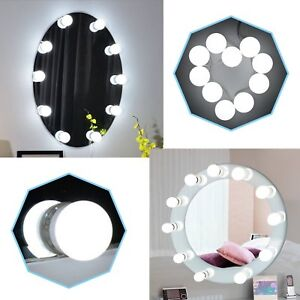 LED Hollywood Style 10 Bulbs Dimmable Makeup Mirror Lights Kit