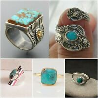 Vintage Women 925 Silver Turquoise Gemstone Wedding Engagement Ring Jewelry 6-12